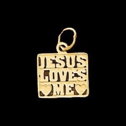 14K Yellow Gold Childen s  JESUS LOVE ME Pendant