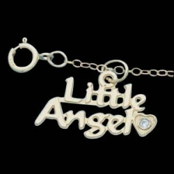 14K Yellow Gold Child Little Angel Pendant W Diamond And Chain
