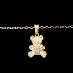 14K Yellow Gold TEDDY BEAR W CZ and 15 Chan
