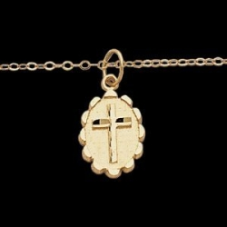 14K Yellow Gold OVAL CROSS Pendant With 15  Chain