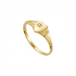 14K Yellow Gold Children s Heart W Diamond Ring
