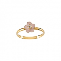 14K Yellow Gold Children s Flower Enamel Ring