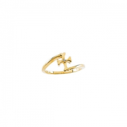 14K Yellow Gold Diamond Children s Cross Ring