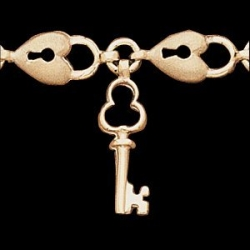14K Yellow Gold Teen Hart And Key Bracelet