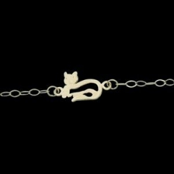 14K Yellow Gold Teen Cat Ankle