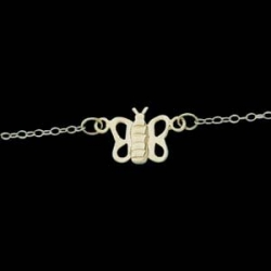 14K Yellow Gold Teen Butterfly Anklet