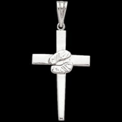 Sterling Silver Teen Cross With Footprint Pendant