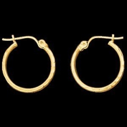 14K Yellow Gold Teen Diamond Cut Hoop Earring