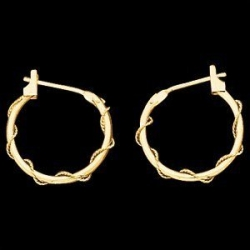 14K Yellow Gold Teen Braided Hoop Earring