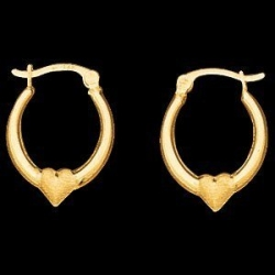 14K Yellow Gold Teen Hoop Earring W Heart