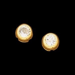 14K Yellow Gold Teen Round Bezel Earring