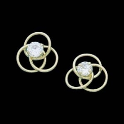14K Yellow Gold Teen Cubic Zirconia Love Knot Earring