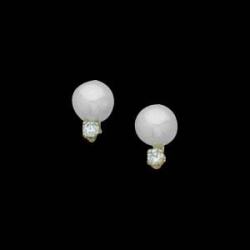 14K Yellow Gold Teen Cultured Pearl And Diamod Earring