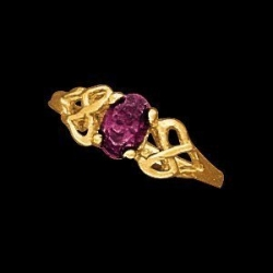 14K Yellow Gold Teen Oval Imitation Amethyst Ring