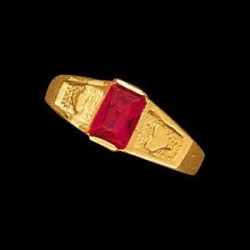 14K Yellow Gold Teen Rectangle Imitation Stone Ring