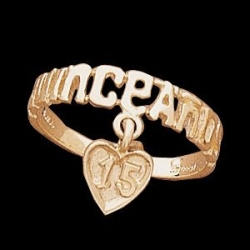14K Yellow Gold Teen Quinceanera Ring