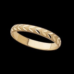 14K Yellow Gold Teen Diamond Cut Joint Ring