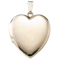 Solid 14k Yellow Heart Plain Yellow Picture Locket
