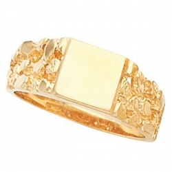 14K Gold Gents Signet Ring W  Brush Finished