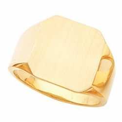 14K Gold Gents Signet Ring W Brush finished Top