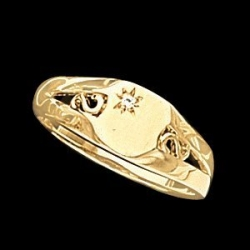 14K Gold Ladies Signet Mounting Ring