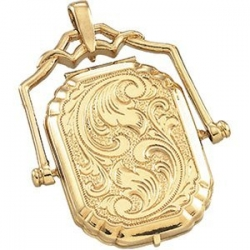 Solid 14K Yellow Gold Large Swivel Locket
