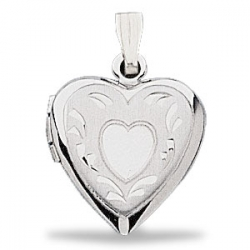 14K White Gold Heart Shaped Locket