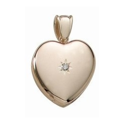 Solid 14k Premium Weight Yellow Gold Heart With Diamond Picture Locket