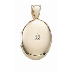 Solid 14k Premium Weight Yellow Gold Oval with Center Diamond Picture Locket