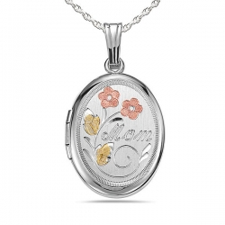 Sterling Silver Oval  Mom  Locket