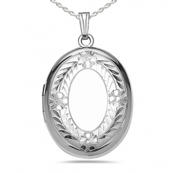 Sterling Silver Oval Hand Engraved Locket