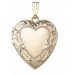 Solid 14K Yellow Gold Heart Locket