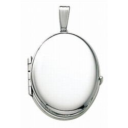 14K White Gold Oval Four Photo Locket