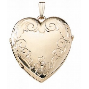 Solid 14k Yellow Gold Heart Four Photo Locket 597pg65028
