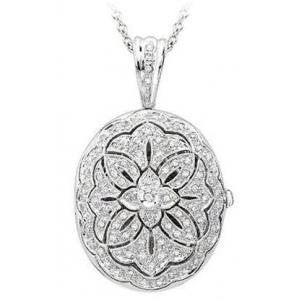 4845d19c7eadd 14K White Gold Premium Oval Photo Locket with Diamonds