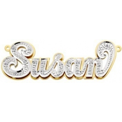 14K Gold Diamond Double Name Plate