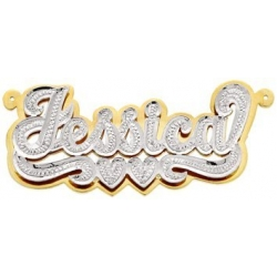 14K Gold  Script  Diamond Nameplate