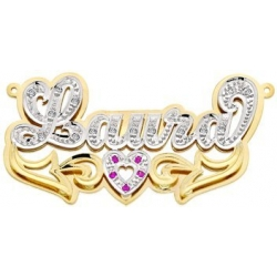14K Gold  Script  Diamond   Ruby Name Plate