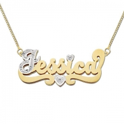 14K Gold  Double Plate Diamond  Script   Name Plate