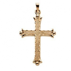 14K Yellow Gold Hollow Cross Pendant