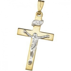 14K Yellow Gold Two Tone Cross Pendant