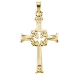 14K Yellow Gold Cross W  Holy Spirt Pendant