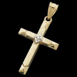 14K Yellow Gold   Diamond Accent Cross