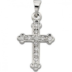 14K Yellow Gold or White Cross Diamond Pendant