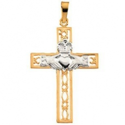 14K Yellow Gold Two Tone Cross Claddagh Pendant