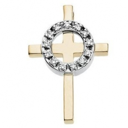 14K Two Tone Yellow Gold   Diamond Cross Pendant
