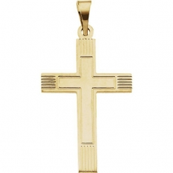 14K Yellow or White Gold Cross Pendant