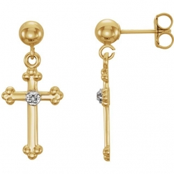 14K Yellow Gold or White Gold  Cross Diamond Earrings