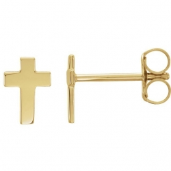 14K Yellow Gold or White Gold  Cross Earrings