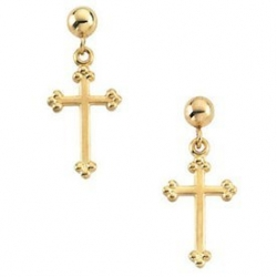 14K Yellow and White Gold Cross Earrings